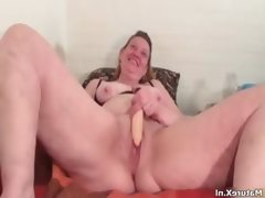 Nasty brunette slut goes crazy getting