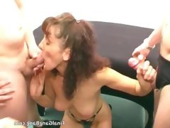 Dirty brunette whore blows jizzster