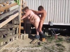 Wife blow and fuck yard worker to pay..